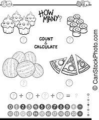 matemáticas, colorido, página, avtivity