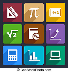 matemáticas, conjunto, 52, plano, iconos