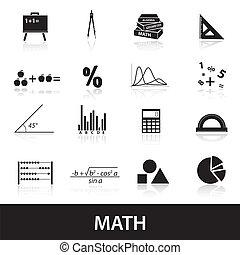 matemáticas, conjunto, eps10, iconos