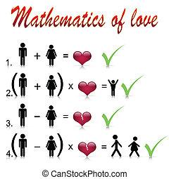 matemáticas, de, amor