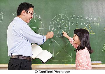 matemáticas, discutir, preguntas, estudiante, profesor