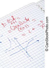 matemáticas, escrito, cálculos, mano