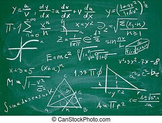matemáticas, fórmulas, en, escuela, pizarra, educación