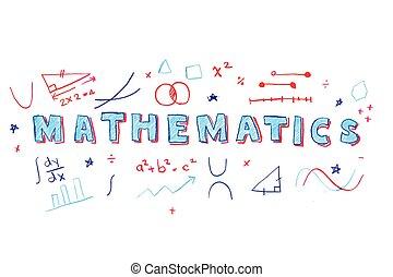 matemáticas, palabra, ilustración