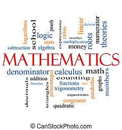 matemáticas, palabra, nube, concepto