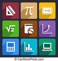 matemáticas, plano, iconos, conjunto, 52
