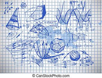 matemáticas, y, física, símbolos