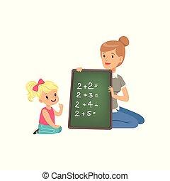 matemático, cute, escola, primário, menina, educação, pequeno, chão, dela, escrita, exemplos, segurando, matemática, sentando, quadro-negro, classe, ilustração, ajudando, professor, pré-escolar, vetorial, pequeno