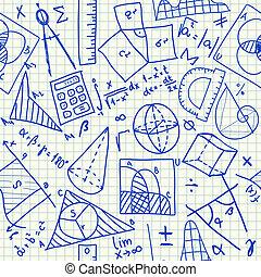 matemático, doodles, seamless, padrão