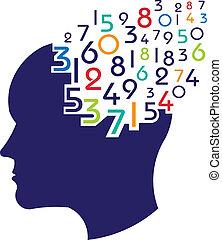 matemático, logotipo, concepto, cerebro