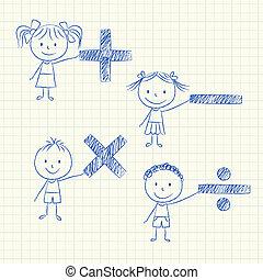 matemático, niños, señales