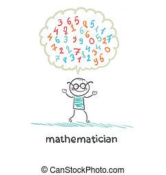 matemático, pensa, aproximadamente, números