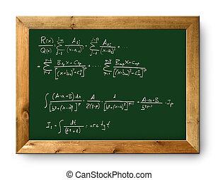 matemático, pizarra, verde, tabla, fórmula, difícil