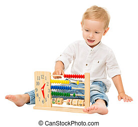 matemático, reloj, encima, aislado, niños, educación, plano de fondo, bebé, blanco, contar, ábaco, juego, matemáticas, niño