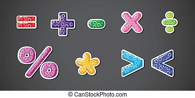 matemático, símbolos, diferente, operación, señales