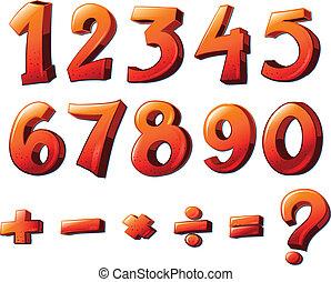 matemático, símbolos, números