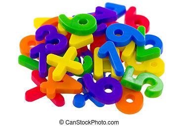 matemático, símbolos, números, variado