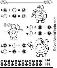 matemático, worksheet, libro colorear