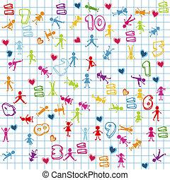 matematica, bambini, numeri, fondo, pagina