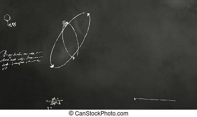 matematica, e, scienza, lavagna, scribbl