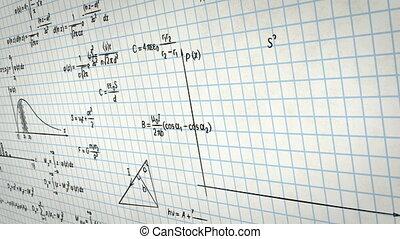 matematica, fisica, formule, su, carta