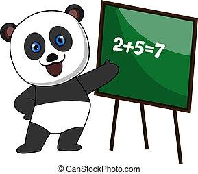matematica, illustrazione, fondo., vettore, bianco, panda