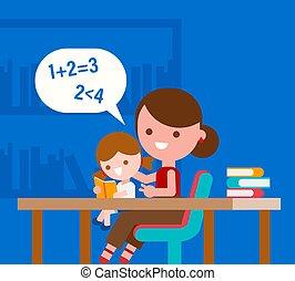 matematica, madre, insegnamento, lei, fondamentale, poco, daughter.