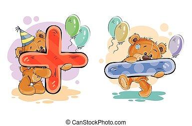 matematico, set, orso teddy, simboli, vettore, più, divertimento, meno