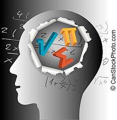 matematico, silhouette., testa, maschio