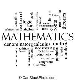 matematika, szó, felhő, fogalom, alatt, fekete-fehér