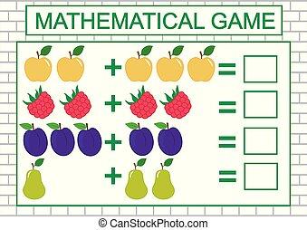 matematikai, feladat, ábra, addition), education., vektor, (counting, gyerekek