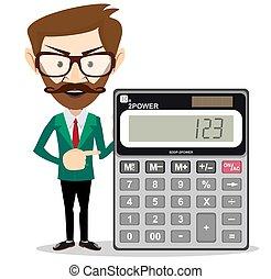 matematyczny, człowiek, dzierżawa, kalkulator