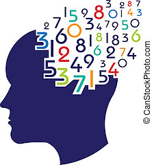 matematyczny, logo, pojęcie, mózg