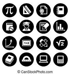 matematyka, komplet, ikony