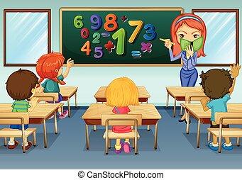 matematyka, nauczyciel, nauczanie, w, klasa