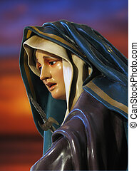 A detail of a statue of Our Lady of Sorrows at the Cathedral of Rabat, Gozo - Malta
