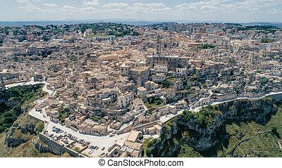 Matera Apulia City near the Sea Coastline blue in Italy Drone 360 vr