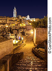 Matera di Notte, Italia - View of Matera by night Italy