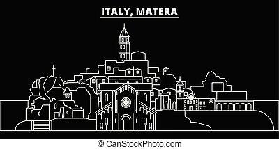 Matera silhouette skyline. Italy - Matera vector city, italian linear architecture, buildings. Matera travel illustration, outline landmarks. Italy flat icons, italian line banner