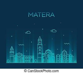 Matera skyline Basilicata Southern Italy a vector - Matera...
