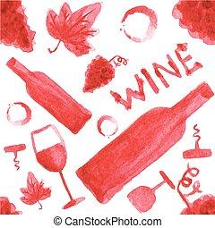 materiał, illustration., próbka, seamless, akwarela, tło., hand-drawn, wektor, aquarelle., białe tło, wino