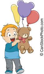 materiał, ilustracja, chłopiec, zabawka, koźlę, balony