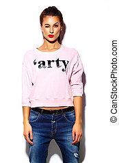 materiał, look., hipster, usteczka, fason, przepych, piękny, wysoki, różowy, wzór, sweter, kobieta, czerwony, szykowny, młody