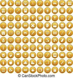 materiały piśmienne, 100, komplet, złoty, ikony