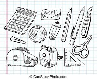materiały piśmienne, doodle, ikony