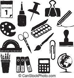 materiały piśmienne, doodle, wizerunki