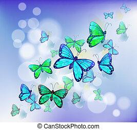 materiały piśmienne, motyle