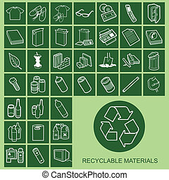 materiaal, iconen, recyclable