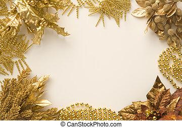 materiaal, kerstmis, goud
