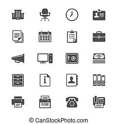 materiais, apartamento, ícones escritório